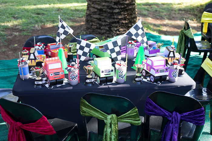 Guest Table from a Blaze and the Monster Machines Birthday Party on Kara's Party Ideas | KarasPartyIdeas.com (15)