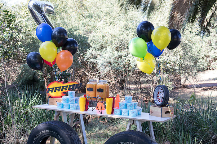 Beverage Table from a Blaze and the Monster Machines Birthday Party on Kara's Party Ideas | KarasPartyIdeas.com (13)