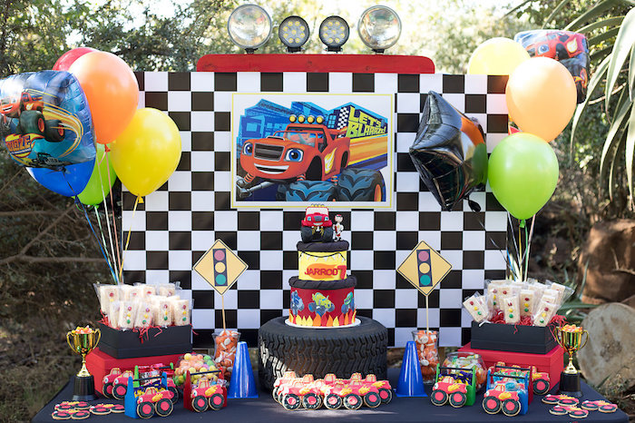 Blaze-inspired Party Table from a Blaze Character Lunch Boxes + Table Settings from aBlaze and the Monster Machines Birthday Party on Kara's Party Ideas | KarasPartyIdeas.com (31)