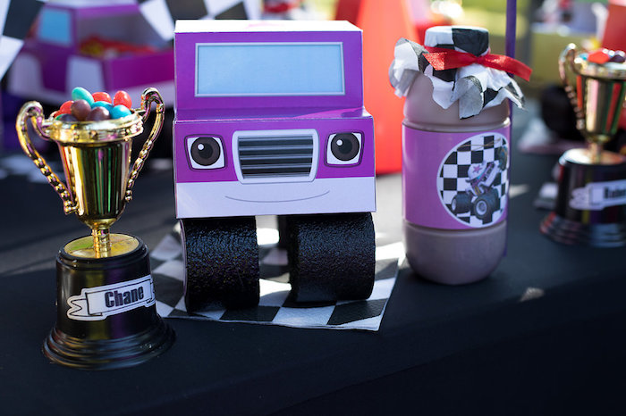 Truck Character + Lunchbox Table Setting from a Blaze and the Monster Machines Birthday Party on Kara's Party Ideas | KarasPartyIdeas.com (11)
