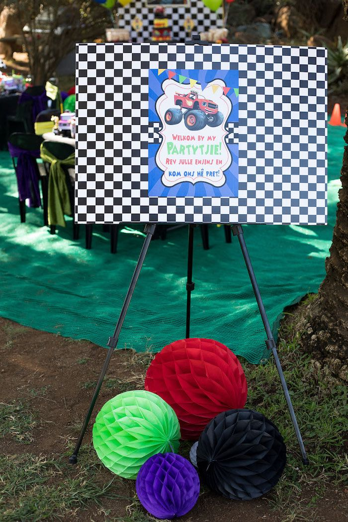 Welcome Party Signage from a Blaze and the Monster Machines Birthday Party on Kara's Party Ideas | KarasPartyIdeas.com (10)