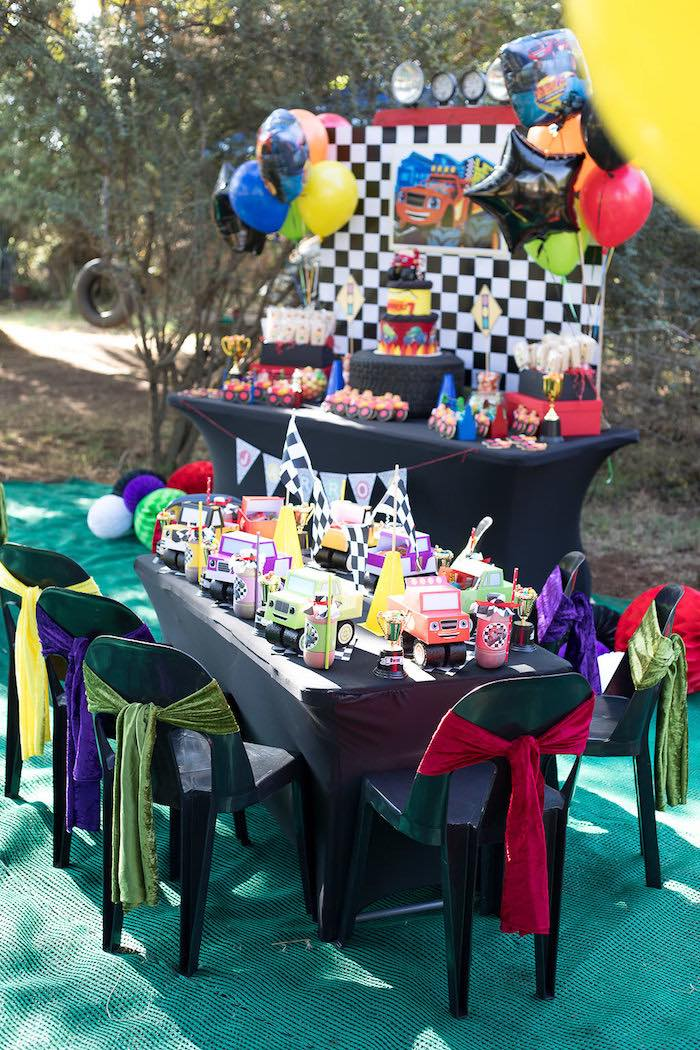 Party Tables from a Blaze and the Monster Machines Birthday Party on Kara's Party Ideas | KarasPartyIdeas.com (8)