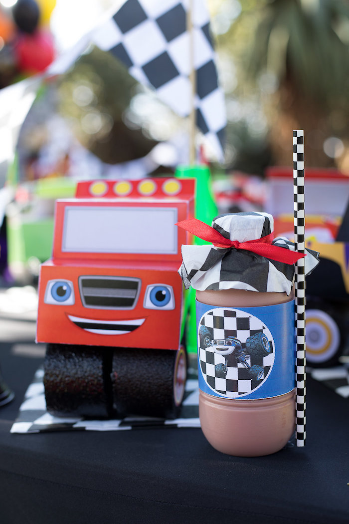 Blaze Lunch Box Table Setting from a Blaze and the Monster Machines Birthday Party on Kara's Party Ideas | KarasPartyIdeas.com (30)
