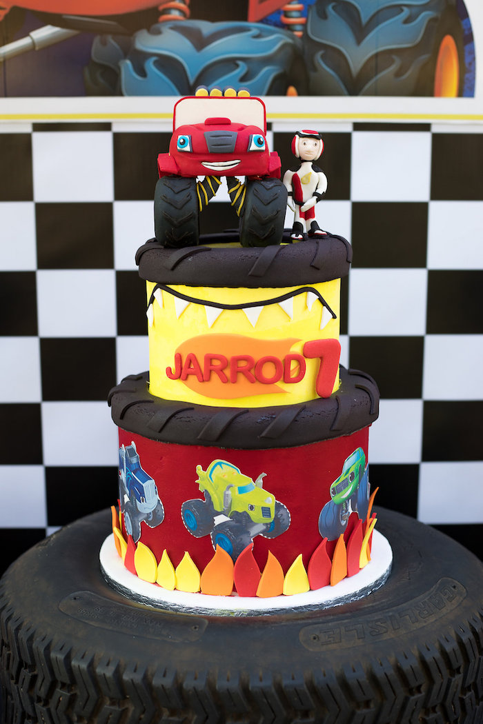 Blaze and the Monster Machines Cake on Kara's Party Ideas | KarasPartyIdeas.com (29)
