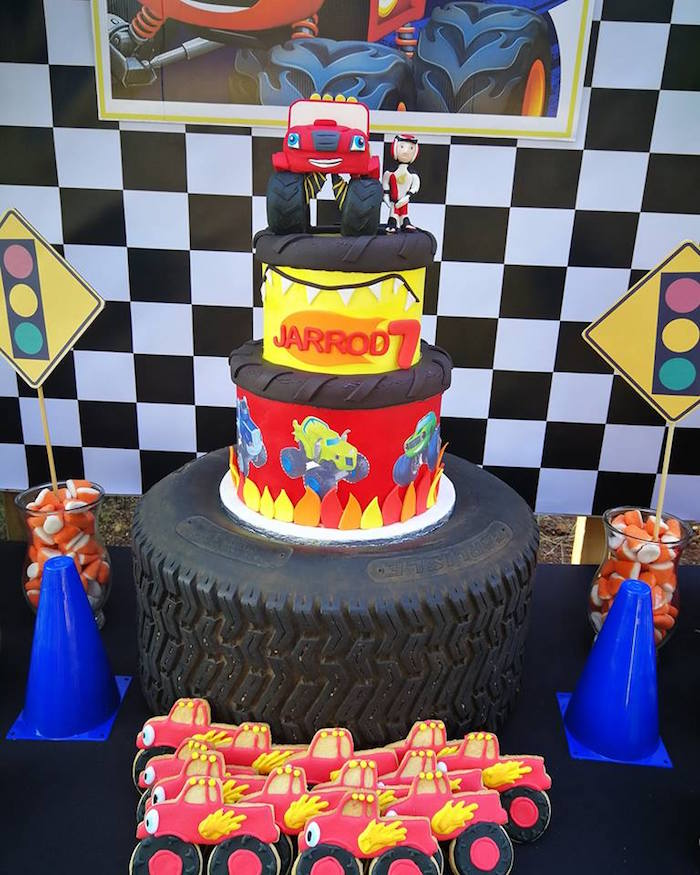 Blaze and the Monster Machines Cake from a Blaze and the Monster Machines Birthday Party on Kara's Party Ideas | KarasPartyIdeas.com (25)
