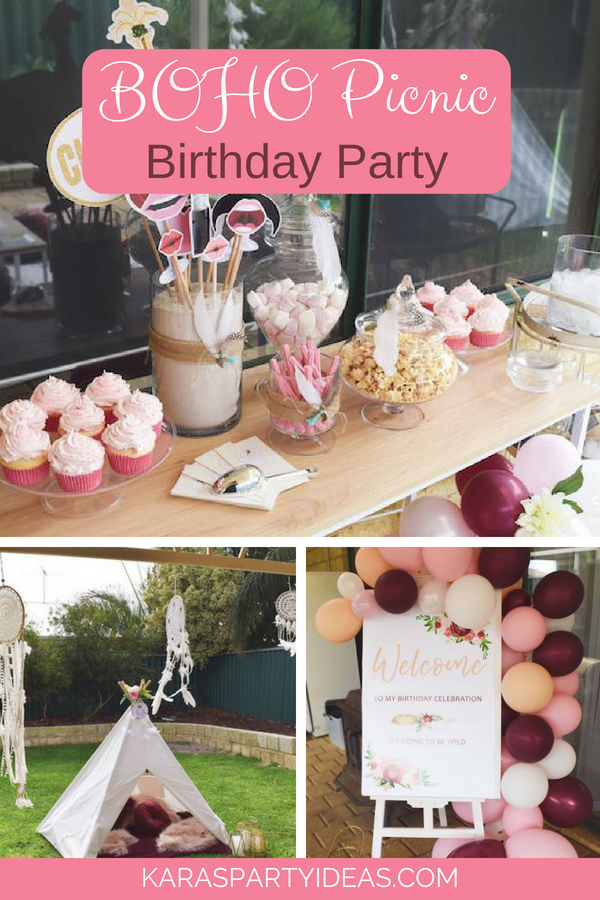 Boho Picnic Birthday Party via Kara_s Party Ideas - KarasPartyIdeas.com