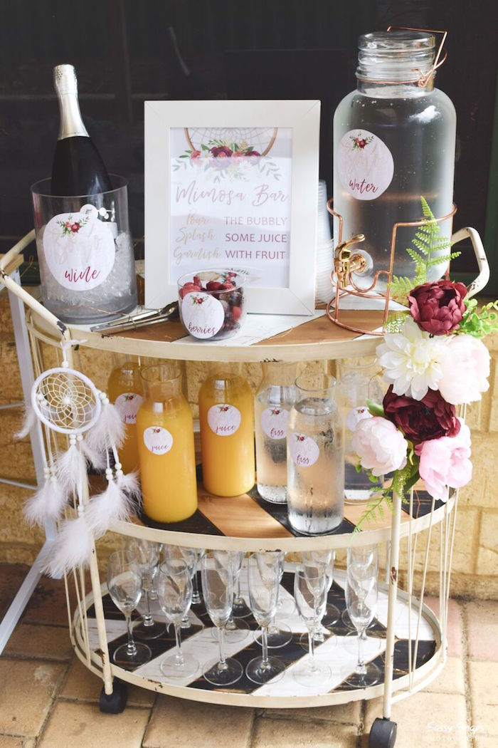 Mimosa Bar from a Boho Picnic Birthday Party on Kara's Party Ideas | KarasPartyIdeas.com (5)