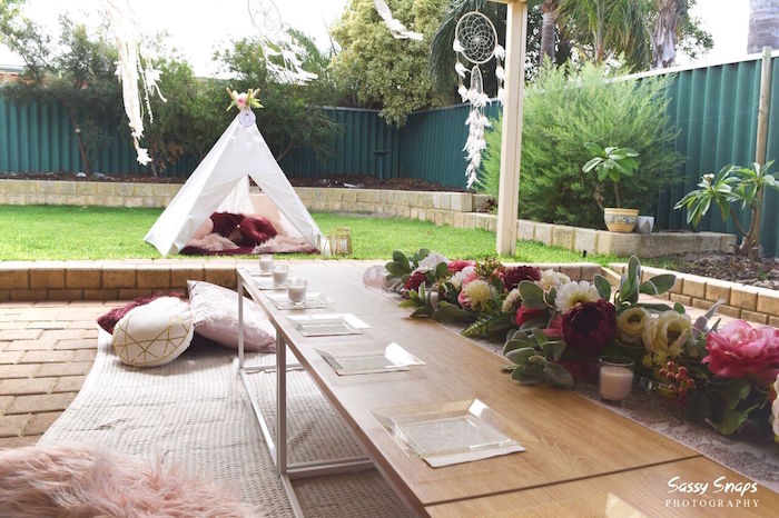 Guest Tablescape from a Boho Picnic Birthday Party on Kara's Party Ideas | KarasPartyIdeas.com (15)