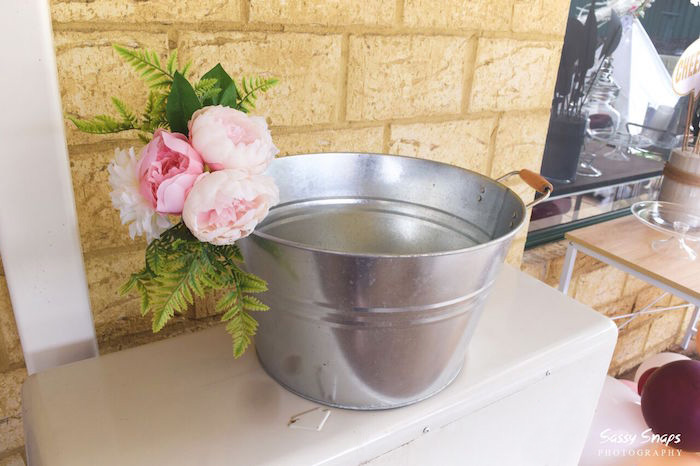 Flower-adorned Bin from a Boho Picnic Birthday Party on Kara's Party Ideas | KarasPartyIdeas.com (12)