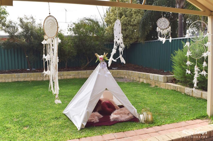 Tent Lounge from a Boho Picnic Birthday Party on Kara's Party Ideas | KarasPartyIdeas.com (11)