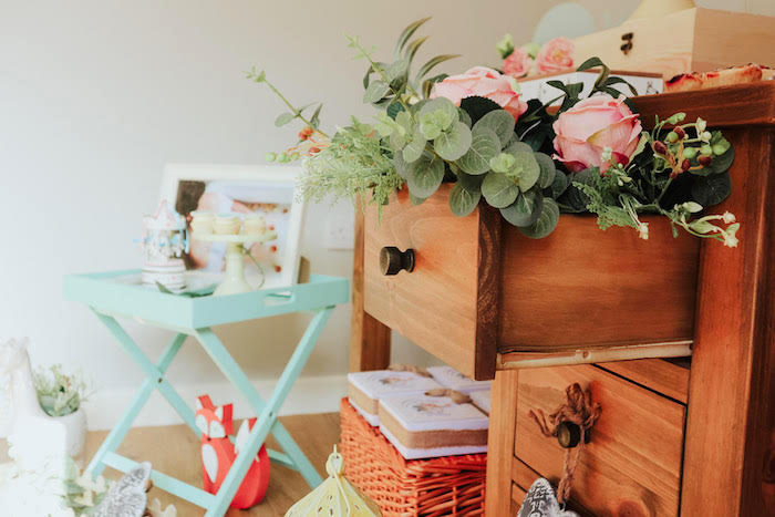 Drawers stuffed with Pink Roses + Greenery from a Boho Safari Baby Shower on Kara's Party Ideas | KarasPartyIdeas.com (11)