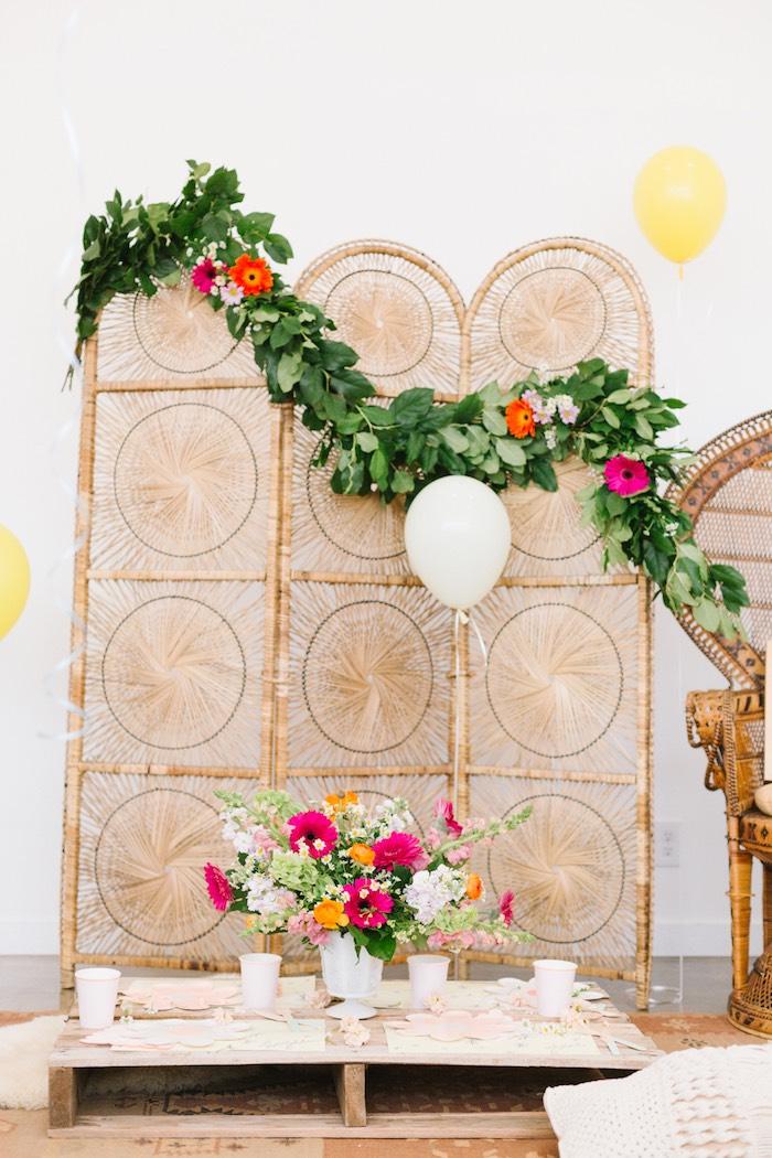 Boho Guest Table + Backdrop from a Boho Summer Daisy Party on Kara's Party Ideas | KarasPartyIdeas.com (13)