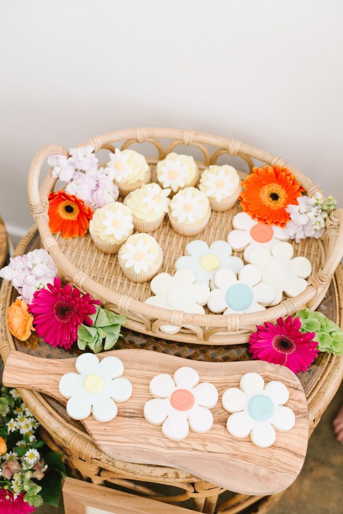 Daisy Cookies & Cupcakes from a Boho Summer Daisy Party on Kara's Party Ideas | KarasPartyIdeas.com (12)