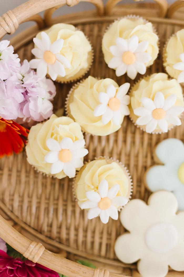 Daisy Cupcakes from a Boho Summer Daisy Party on Kara's Party Ideas | KarasPartyIdeas.com (20)