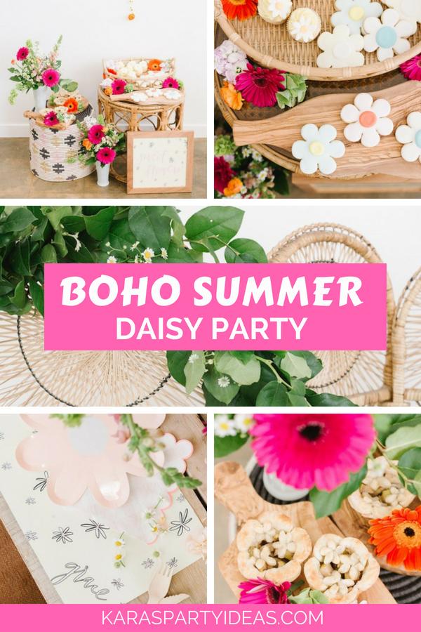 Boho Summer Daisy Party via Kara's Party Ideas - KarasPartyIdeas.com