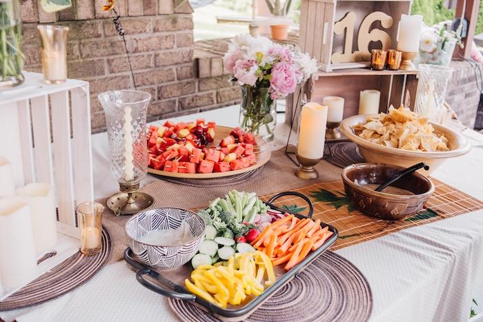 Boho Food Table from a Boho Sweet Sixteen Birthday Party on Kara's Party Ideas | KarasPartyIdeas.com (12)