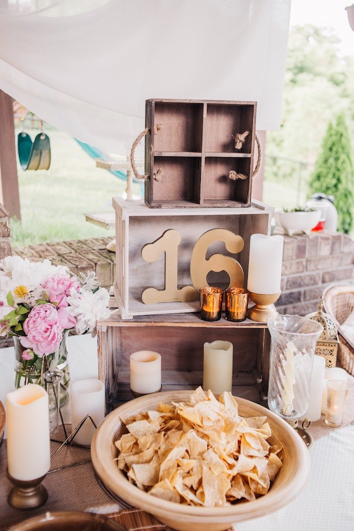 Stacked Wood Crates + Food Table from a Boho Sweet Sixteen Birthday Party on Kara's Party Ideas | KarasPartyIdeas.com (11)