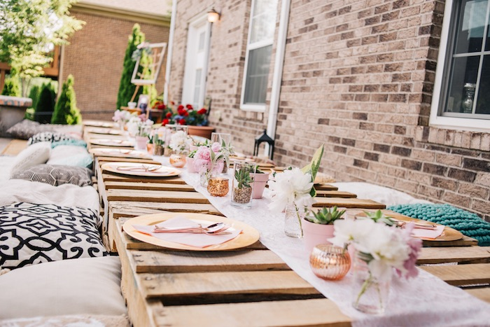 Boho Party Table From A Sweet Sixteen Birthday On Karas Ideas