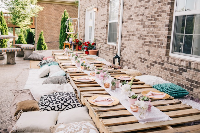 Wood Pallet Guest table from a Boho Sweet Sixteen Birthday Party on Kara's Party Ideas | KarasPartyIdeas.com (24)