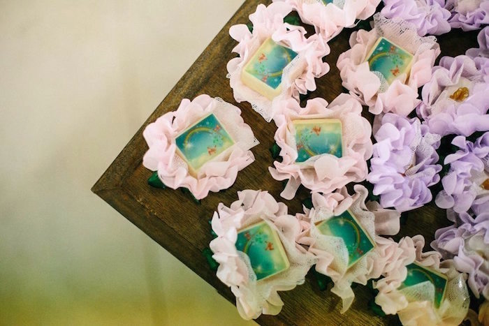 Flower-encases sweets from a Butterfly Garden Baptism Party on Kara's Party Ideas | KarasPartyIdeas.com (13)