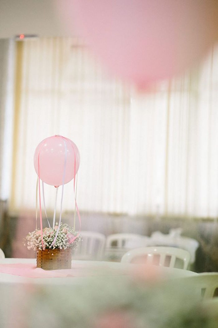 Balloon & Bloom Table Centerpiece from a Butterfly Garden Baptism Party on Kara's Party Ideas | KarasPartyIdeas.com (9)