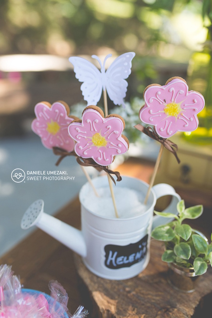 Flower + Butterfly Cookie Pops from a Butterfly Garden Birthday Party on Kara's Party Ideas | KarasPartyIdeas.com (11)
