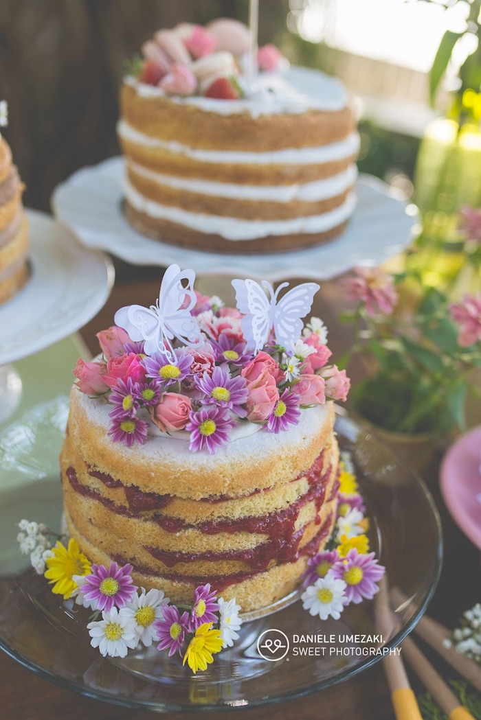 Naked Cakes from a Butterfly Garden Birthday Party on Kara's Party Ideas | KarasPartyIdeas.com (6)