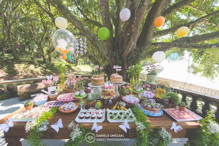 Garden Themed Dessert Table from a Butterfly Garden Birthday Party on Kara's Party Ideas | KarasPartyIdeas.com (4)