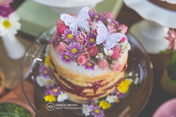 Floral Butterfly Naked Cake from a Butterfly Garden Birthday Party on Kara's Party Ideas | KarasPartyIdeas.com (18)
