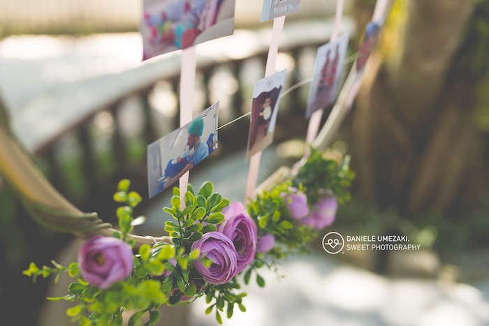Floral Photo Garland from a Butterfly Garden Birthday Party on Kara's Party Ideas | KarasPartyIdeas.com (14)