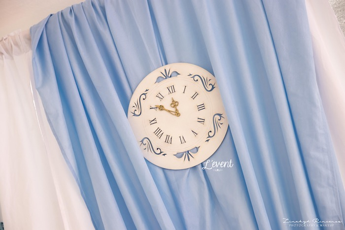 Clock Backdrop from a Cinderella Princess Party on Kara's Party Ideas | KarasPartyIdeas.com (3)