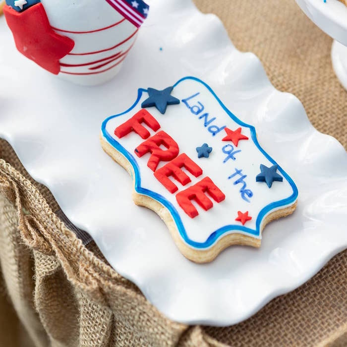 Land of the Free Cookie from a Red, White & Blue Patriotic Party on Kara's Party Ideas | KarasPartyIdeas.com