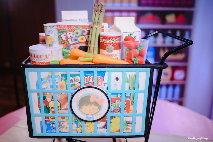 Supermarket Cart from a Dainty Supermarket Birthday Party on Kara's Party Ideas | KarasPartyIdeas.com (8)