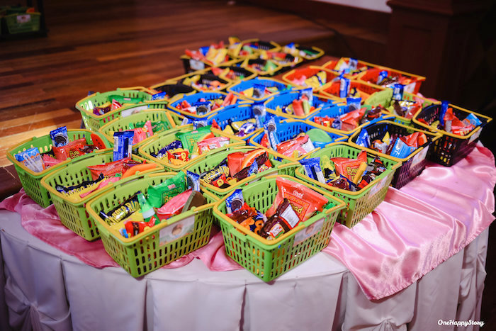 Grocery Basket Favors from a Dainty Supermarket Birthday Party on Kara's Party Ideas | KarasPartyIdeas.com (6)