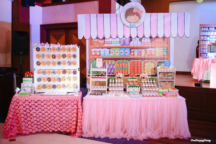 Grocery Stand Dessert Table from a Dainty Supermarket Birthday Party on Kara's Party Ideas | KarasPartyIdeas.com (18)