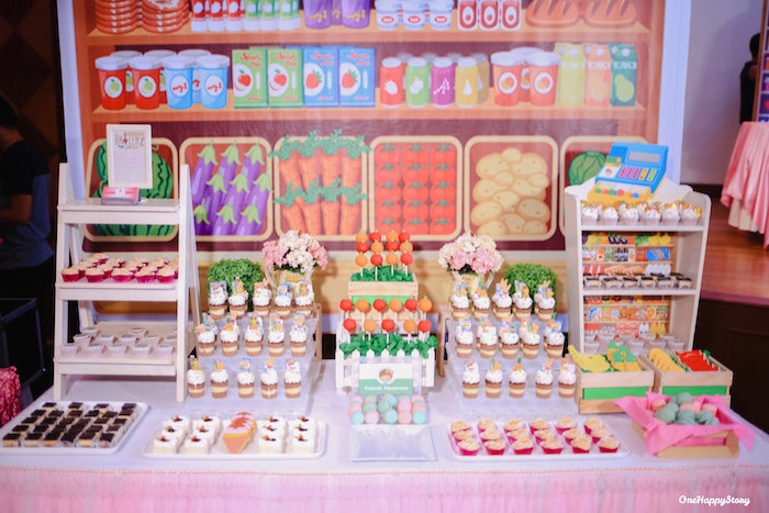 Grocery-inspired Dessert Table from a Dainty Supermarket Birthday Party on Kara's Party Ideas | KarasPartyIdeas.com (17)