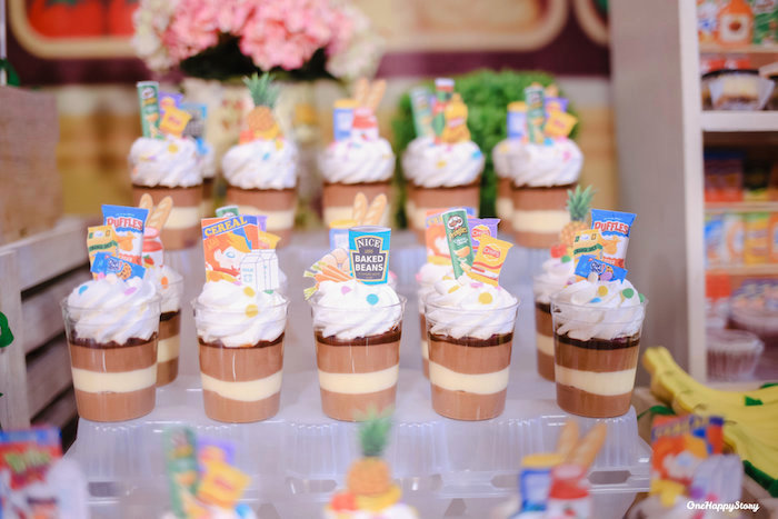 Grocery Pudding Cups from a Dainty Supermarket Birthday Party on Kara's Party Ideas | KarasPartyIdeas.com (16)