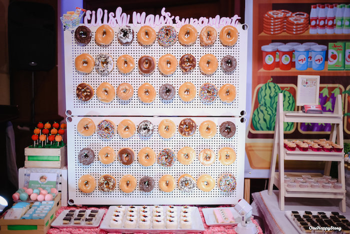 Doughnut Board Sweet Table from a Dainty Supermarket Birthday Party on Kara's Party Ideas | KarasPartyIdeas.com (13)