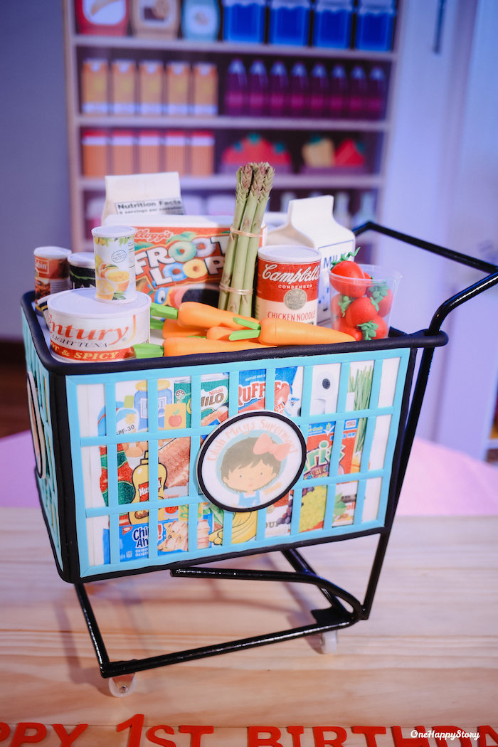 Supermarket Cart from a Dainty Supermarket Birthday Party on Kara's Party Ideas | KarasPartyIdeas.com (10)
