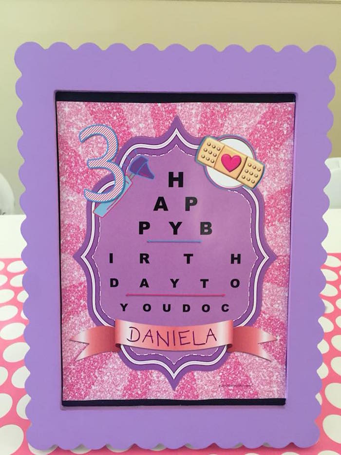 Happy Birthday Eye Test Party Sign from a Doc McStuffins Birthday Party on Kara's Party Ideas | KarasPartyIdeas.com (13)