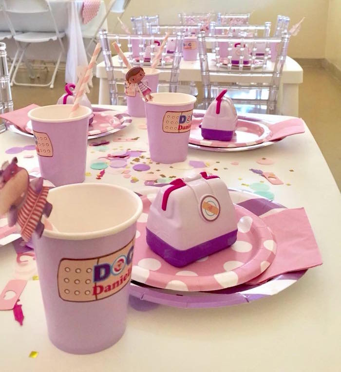 Doc McStuffins Table Setting from a Doc McStuffins Birthday Party on Kara's Party Ideas | KarasPartyIdeas.com (12)