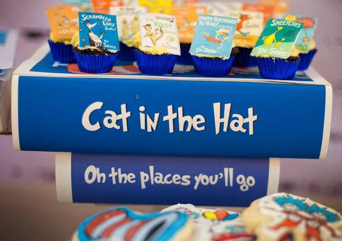 Dr. Seuss Book Dessert Pedestal + Cupcakes from a Dr. Seuss Birthday Party on Kara's Party Ideas | KarasPartyIdeas.com (19)