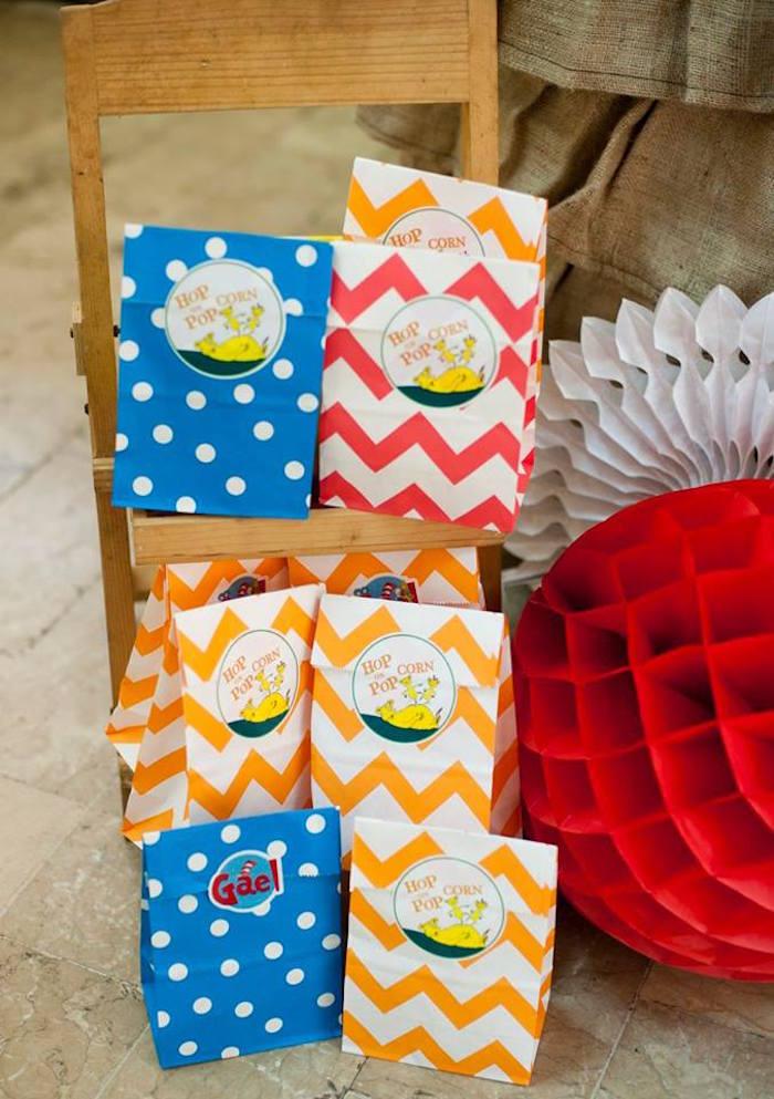 Hop on Popcorn Favor Sacks from a Dr. Seuss Birthday Party on Kara's Party Ideas | KarasPartyIdeas.com (18)