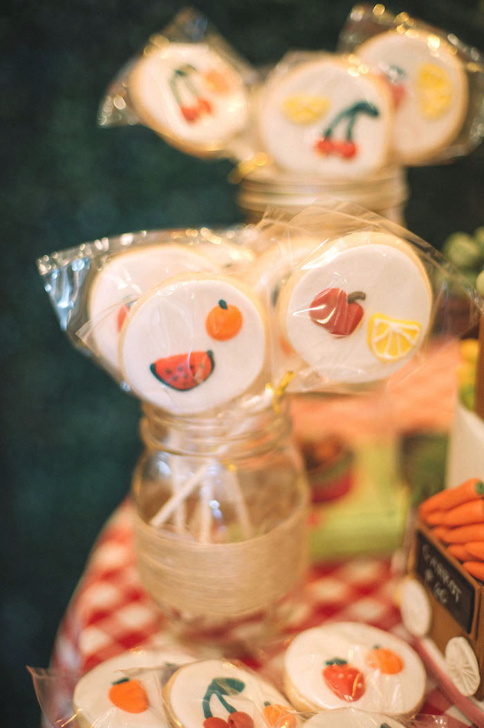 Fruit & Veggie Cookie Pops from a Farmer's Market Birthday Party on Kara's Party Ideas | KarasPartyIdeas.com (14)