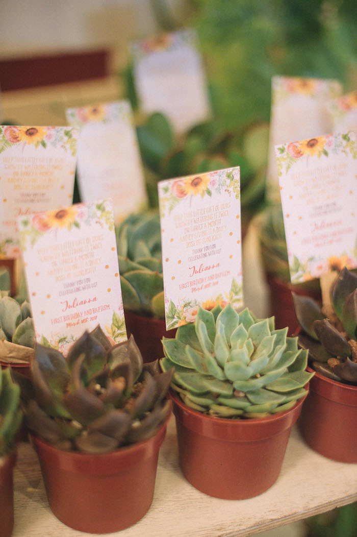 Succulent Plant Favors from a Farmer's Market Birthday Party on Kara's Party Ideas | KarasPartyIdeas.com (12)
