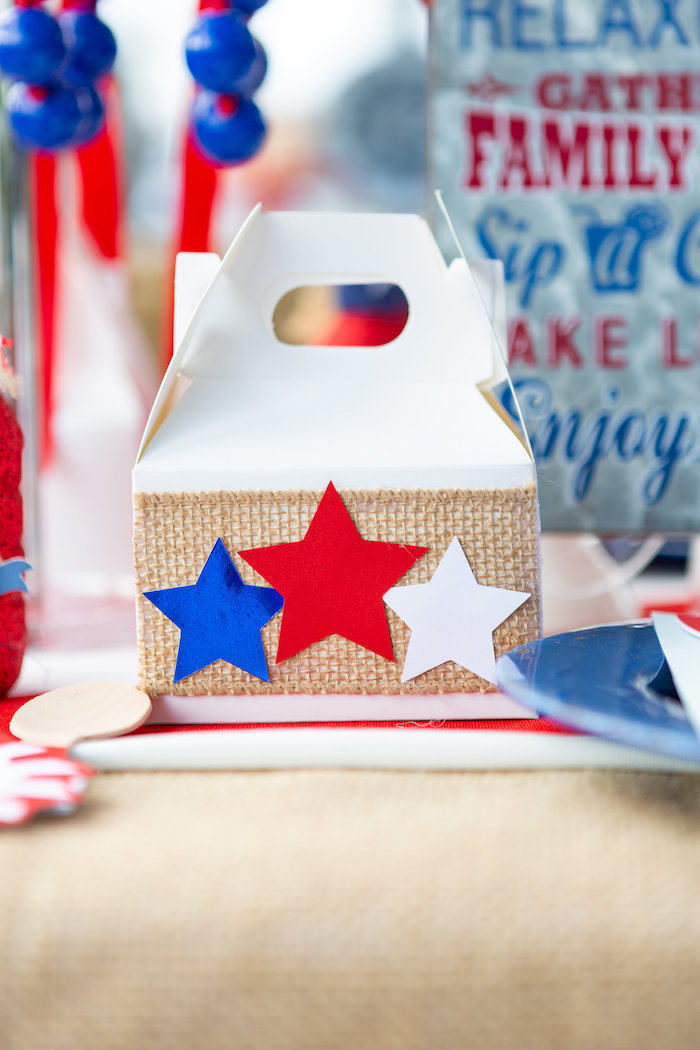 Star Spangled Favor Box from a Red, White & Blue Patriotic Party on Kara's Party Ideas | KarasPartyIdeas.com