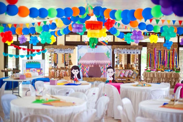 "Guest Tables + Full Party Spread from a Filipino Festival ""Pistahan"" Inspired Birthday Party on Kara's Party Ideas 