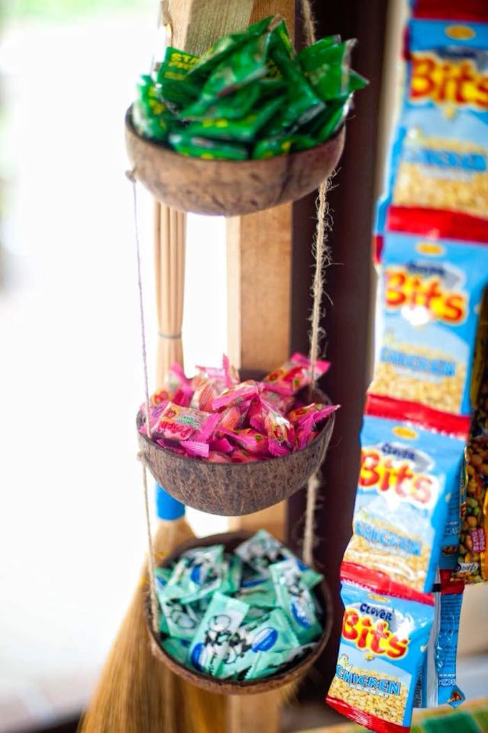 "Tiered Candy-filled Baskets from a Filipino Festival ""Pistahan"" Inspired Birthday Party on Kara's Party Ideas 