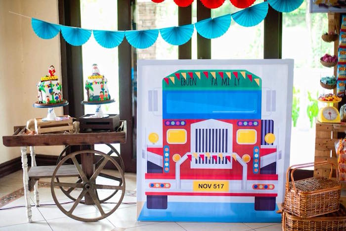 "Truck Backdrop Standee from a Filipino Festival ""Pistahan"" Inspired Birthday Party on Kara's Party Ideas 