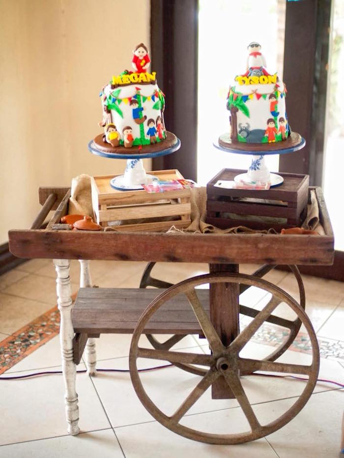 "Cake Table Cart from a Filipino Festival ""Pistahan"" Inspired Birthday Party on Kara's Party Ideas 